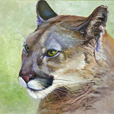 Poster featuring the painting Cougar by Bonnie Rinier