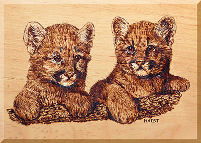 Poster featuring the pyrography Cougar Cubs by Ron Haist