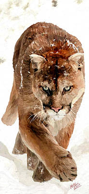 Poster featuring the painting Cougar In The Snow by James Shepherd