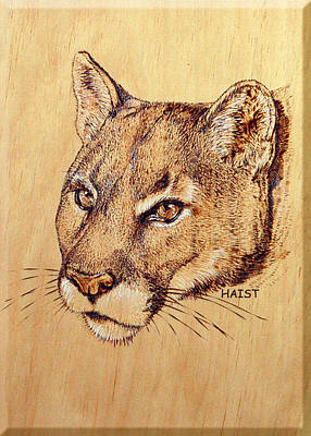 Poster featuring the pyrography Cougar by Ron Haist