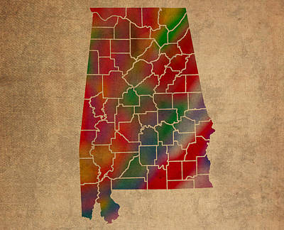 Counties Of Alabama Colorful Vibrant Watercolor State Map On Old Canvas Poster
