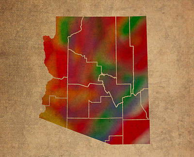 Counties Of Arizona Colorful Vibrant Watercolor State Map On Old Canvas Poster