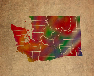 Counties Of Washington Colorful Vibrant Watercolor State Map On Old Canvas Poster