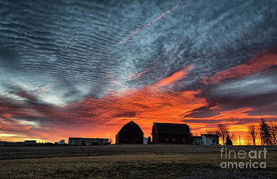 Country Barns Sunrise Poster