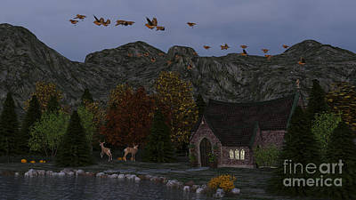 Country Church Autumn At Twilight Poster by Methune Hively