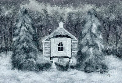 Poster featuring the digital art Country Church On A Snowy Night by Lois Bryan