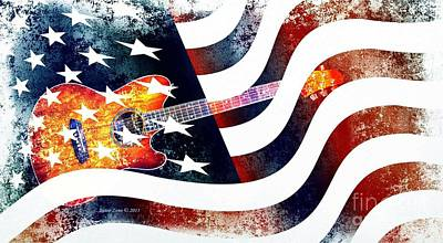 Country Music Guitar And American Flag Poster