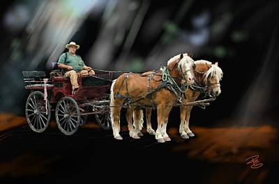 Country Road Horse And Wagon Poster