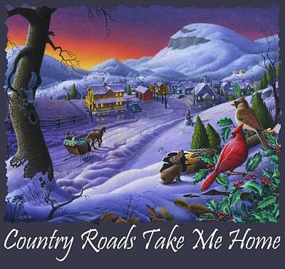 Country Roads Take Me Home T Shirt - Small Town Winter Landscape With Cardinals 2 - Americana Poster by Walt Curlee