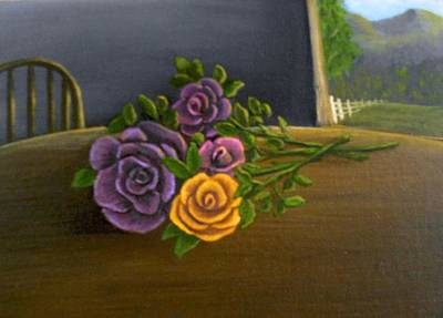 Poster featuring the painting Country Roses by Sheri Keith