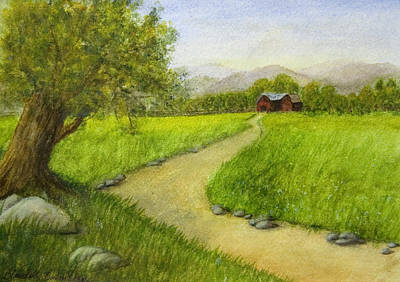 Country Scene - Barn In The Distance Poster