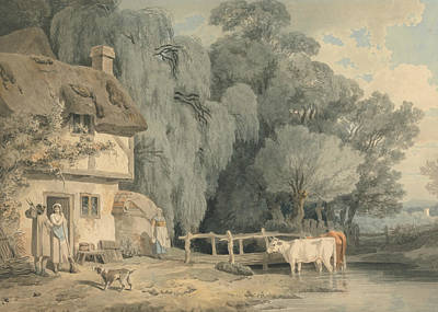 Country Scene - Figures By A Cottage Door And Cattle In A Stream Poster