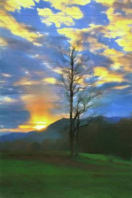 Country Sunset On Wood Poster
