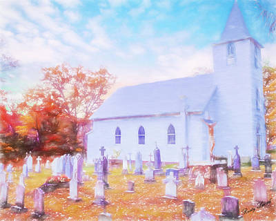 Country White Church And Old Cemetery. Poster