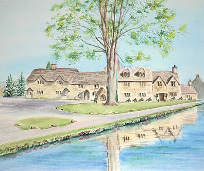 Poster featuring the painting Countryside Cottages by Elizabeth Lock