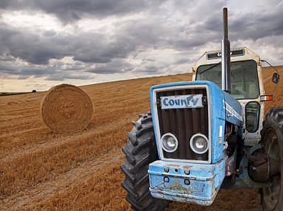 County Tractor At Harvest Time Poster