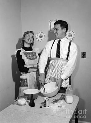 Couple Baking, C.1950s Poster by Debrocke/ClassicStock