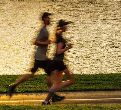 Couple Jogging In Forest Park Poster