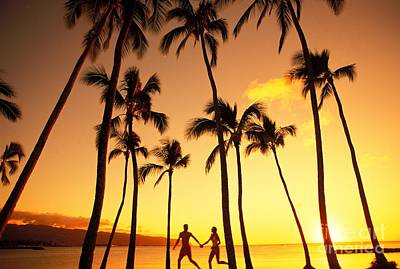 Couple Silhouette - Tropical Poster by Dana Edmunds - Printscapes
