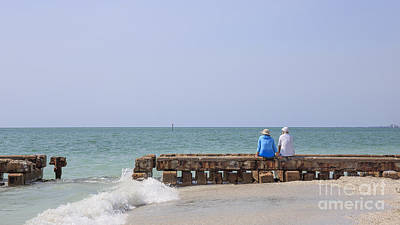 Couple Sitting On An Old Jetty Siesta Key Beach Florida Poster