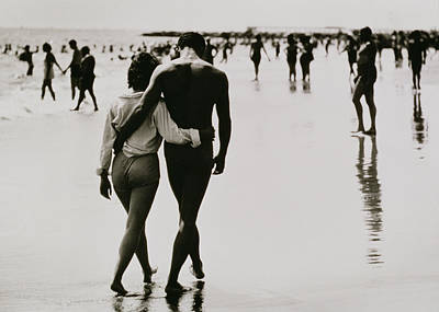 Couple Walking In The Water At Coney Island Poster by Nat Herz