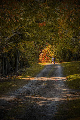 Couple Walking On A Dirt Road Through A Tree Canopy During Autumn Poster by Randall Nyhof