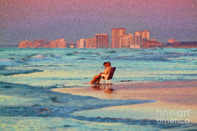 Couple Watching The Sunset Poster