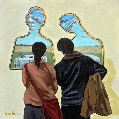 Poster featuring the painting  Couple With Their Heads Full Of Clouds by Linda Apple