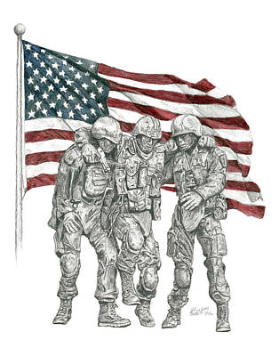 Poster featuring the drawing Courage In Brotherhood by Betsy Hackett