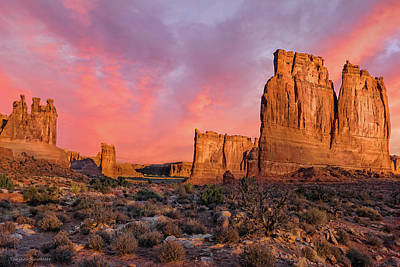 Poster featuring the photograph Courthouse Towers And Three Gossips by Expressive Landscapes Fine Art Photography by Thom