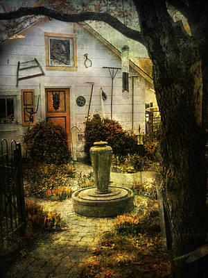 Courtyard And Fountain Poster by John Rivera