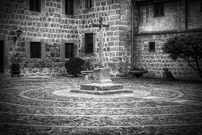 Courtyard At Convent Of The Incarnation Bw Poster by Joan Carroll