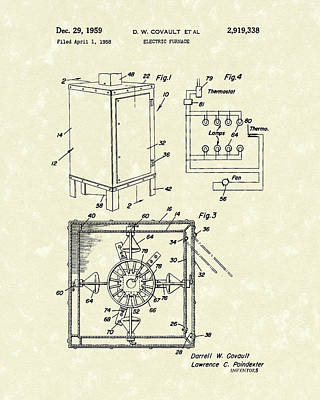 Poster featuring the drawing Covault Electric Furnace 1959 Patent Art by Prior Art Design