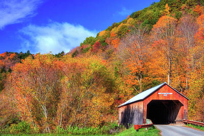 Cilley Covered Bridge In Autumn Poster