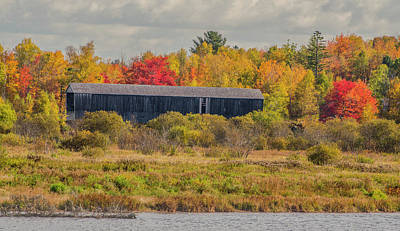 Covered Bridge In Foliage Poster