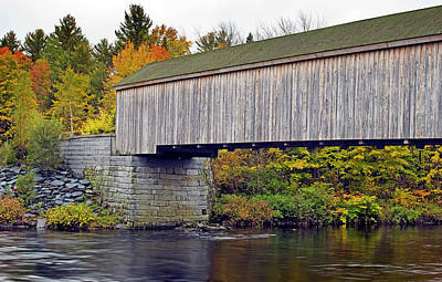 Covered Bridge In Maine During Fall Poster by Brendan Reals