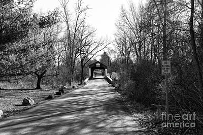 Covered Bridge In The Distance Mono Poster
