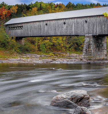 Covered Bridge In Vermont With Fall Foliage Poster