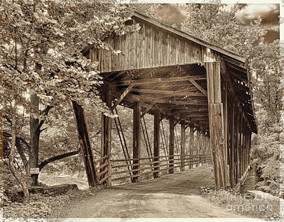 Covered Bridge  Sepia Tone Poster by Mindy Sommers