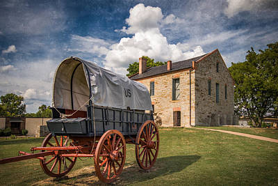 Covered Wagon And Stone Building With Texture Poster by James Barber