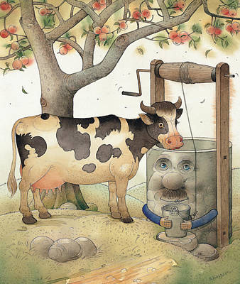Cow And Well Poster by Kestutis Kasparavicius