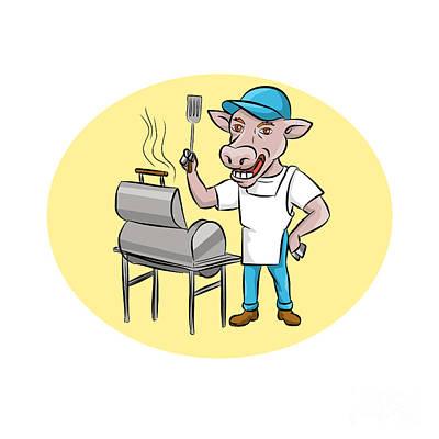 Cow Barbecue Chef Smoker Oval Cartoon Poster by Aloysius Patrimonio
