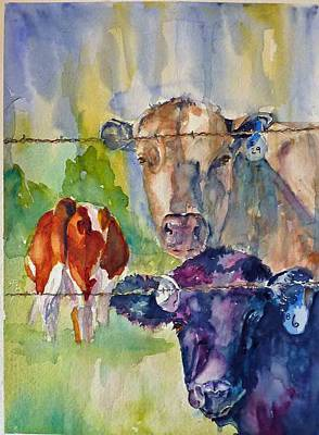 Poster featuring the painting Cow Bingo by P Maure Bausch