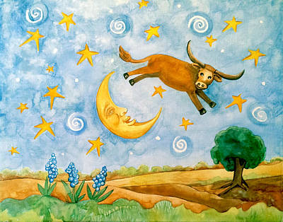 Cow Jumping The Moon Poster by Barbara Beck-Azar