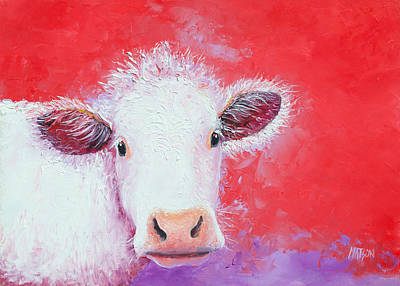 Cow Painting - Charolais Poster by Jan Matson