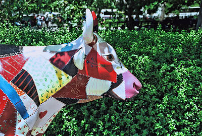 Cow Parade N Y C  2000 - Crazy Quilt Cow Poster by Allen Beatty