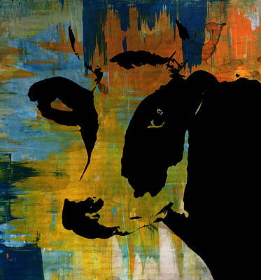 Cow Sunset Rainbow 2 - Poster Print Poster by Robert R Splashy Art Abstract Paintings