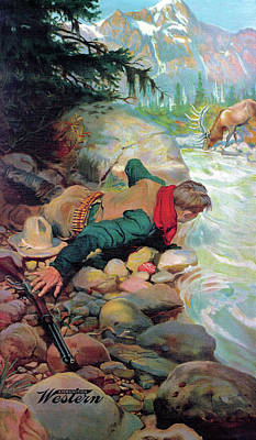 Poster featuring the painting Cowboy And Elk by Unknown
