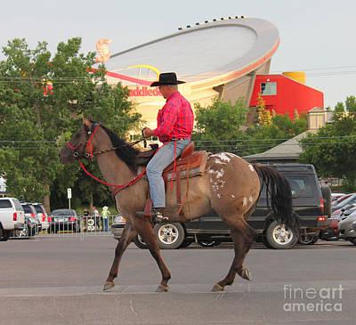 Cowboy And Saddledome Poster
