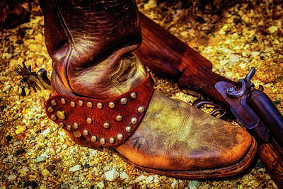 Cowboy Boot Wirth Spur And Shotgun Poster